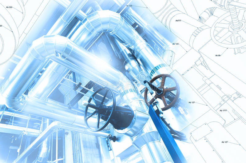 Sketch of piping design mixed to industrial equipment photo. Sketch of piping design mixed with industrial equipment photo stock illustration