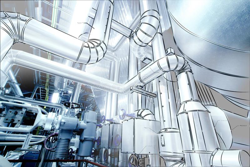 Sketch of piping design mixed to power plant photo. Sketch of piping design mixed with power plant photo royalty free illustration