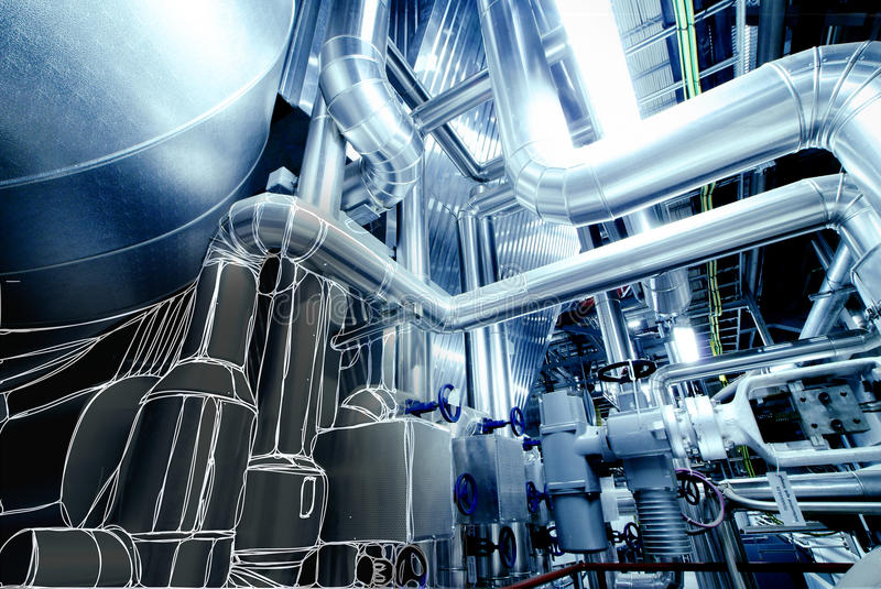 Sketch of piping design mixed to power plant photo. Sketch of piping design mixed with power plant photo vector illustration