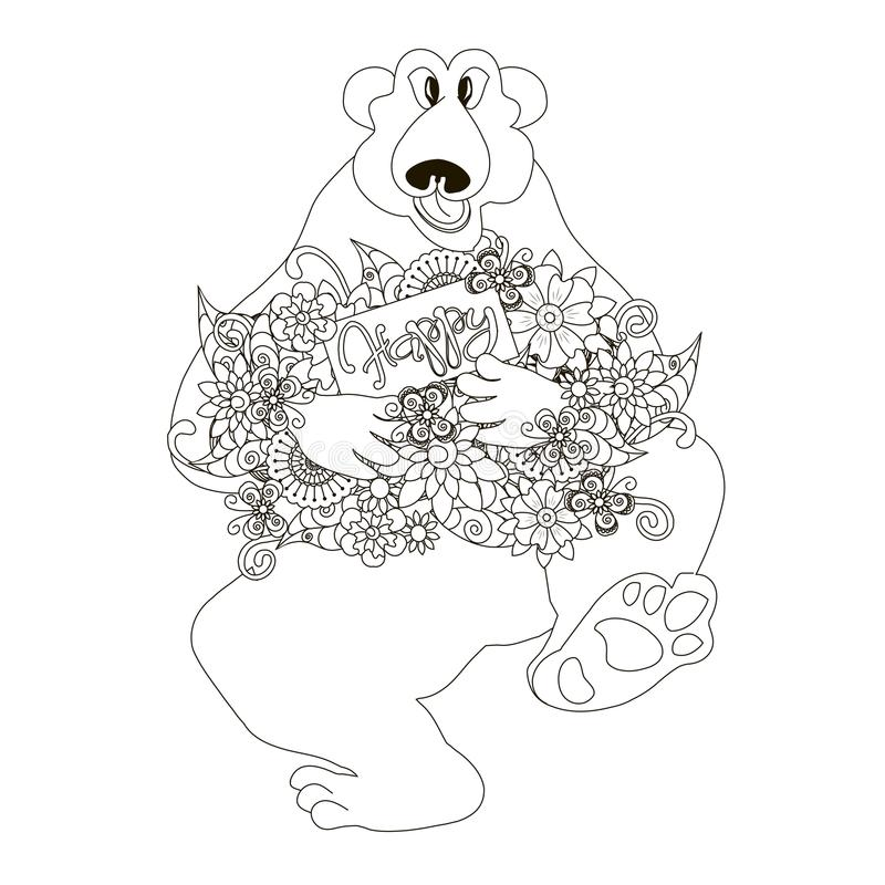 Download Sketch Of Polar Bear Holding Flowers Card With Lettering Happy Coloring Book Page