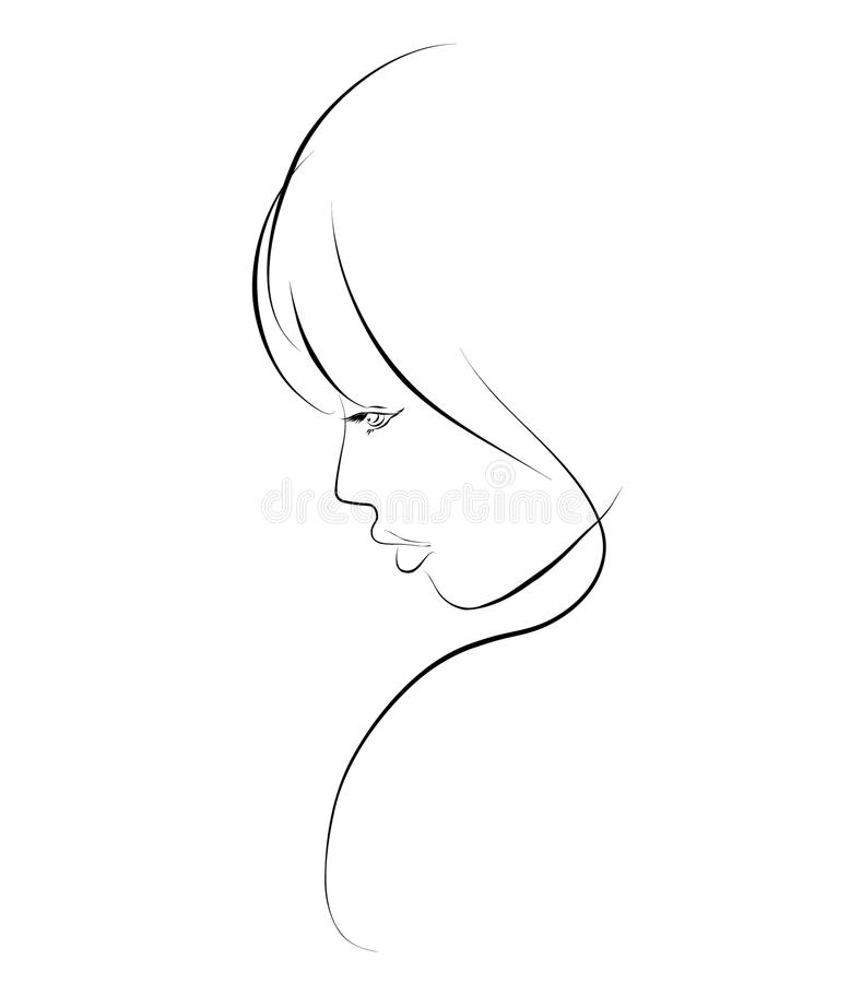 Sketch a portrait of a beautiful girl royalty free stock photography