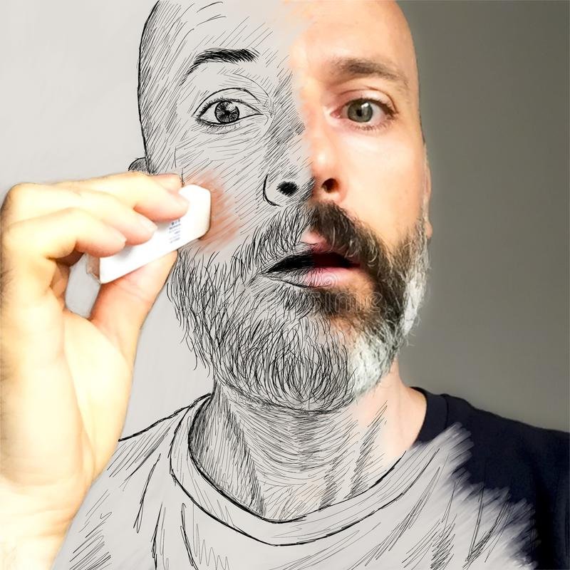 Aketch on portrait. Man erase his face vector illustration