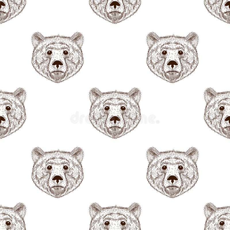 Sketch realistic face brown Bear seamless pattern. Hand drawn vector illustration in Doodle style. Engraving sketch for tattoos. royalty free illustration