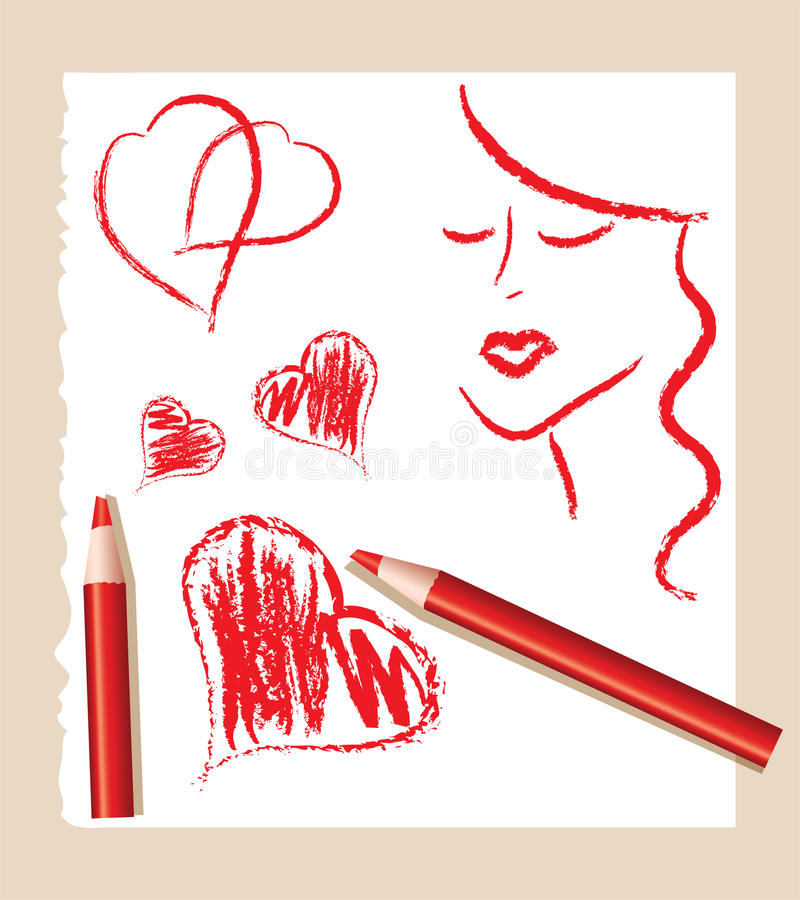 Sketch of red hearts and beautiful woman royalty free illustration