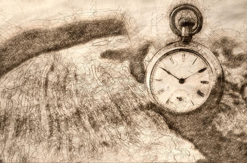 Sketch of the Relentless and Unstoppable Passage of Time. Sketch of the Relentless and Utterly Unstoppable Passage of Time stock illustration