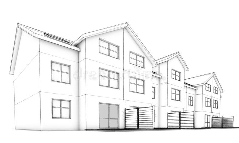 Download Sketch Residential Terraced Houses Stock Illustration