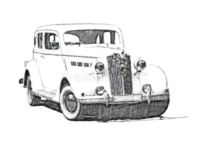 Sketch Retro Vintage White Luxury Car Stock Images