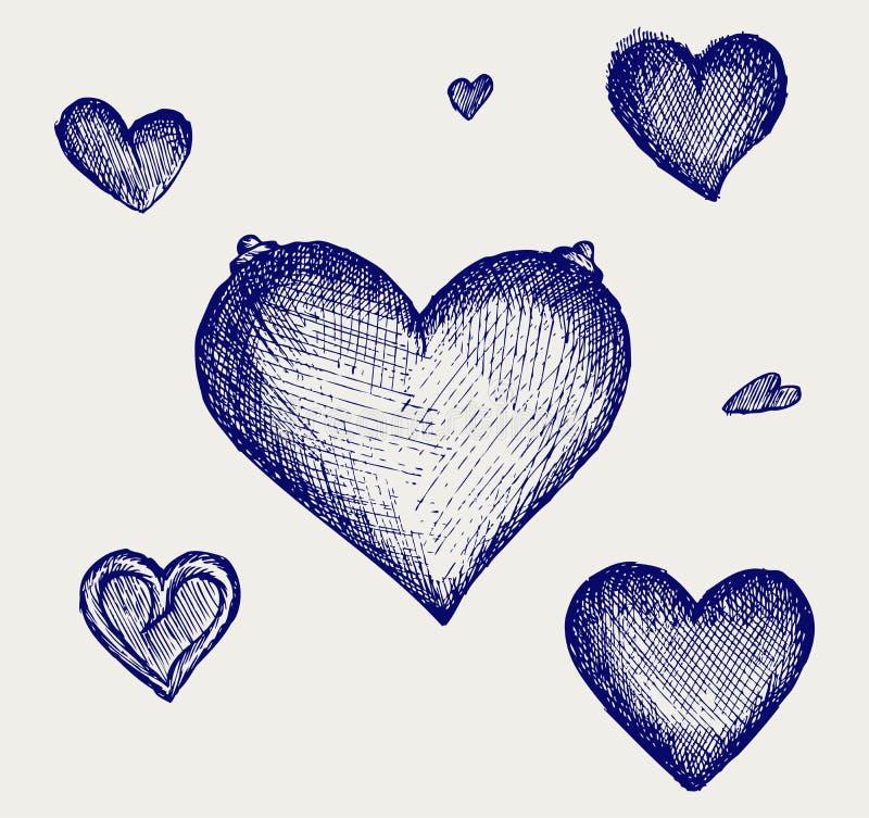 Sketch ritar. Hjärta royaltyfri illustrationer