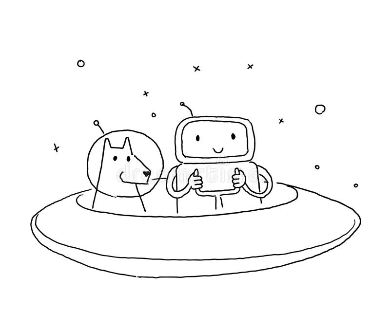 Sketch robot alien character with dog. On flying saucer in space. Hand drawn black line vector illustration. stock illustration