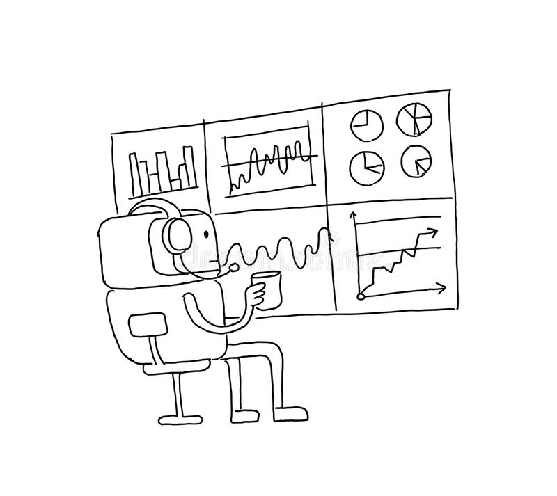 Sketch robot alien character keeps track of the diagrams. Stock exchange. Bot broker looks at the monitor statistics royalty free illustration