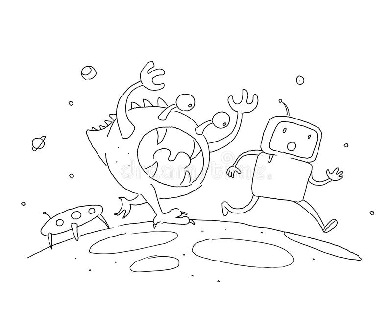 Sketch robot male character, an astronaut escapes runs from a monster on another planet. 404 error not page. Hand drawn royalty free illustration