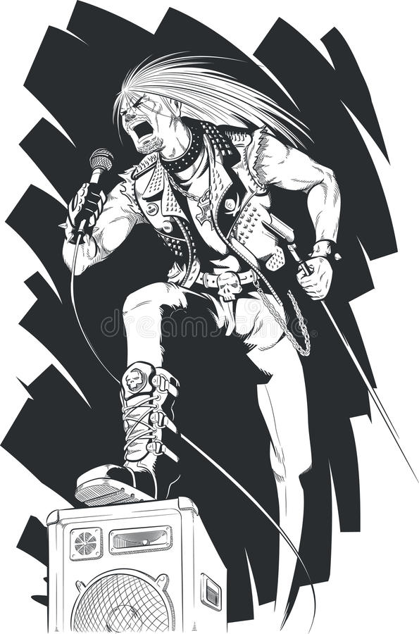 Sketch of Rocker Singing on Concert. A vector image of a rocker singing loudly using the mic. Drawn in sketch style, this vector is very good for design that stock illustration