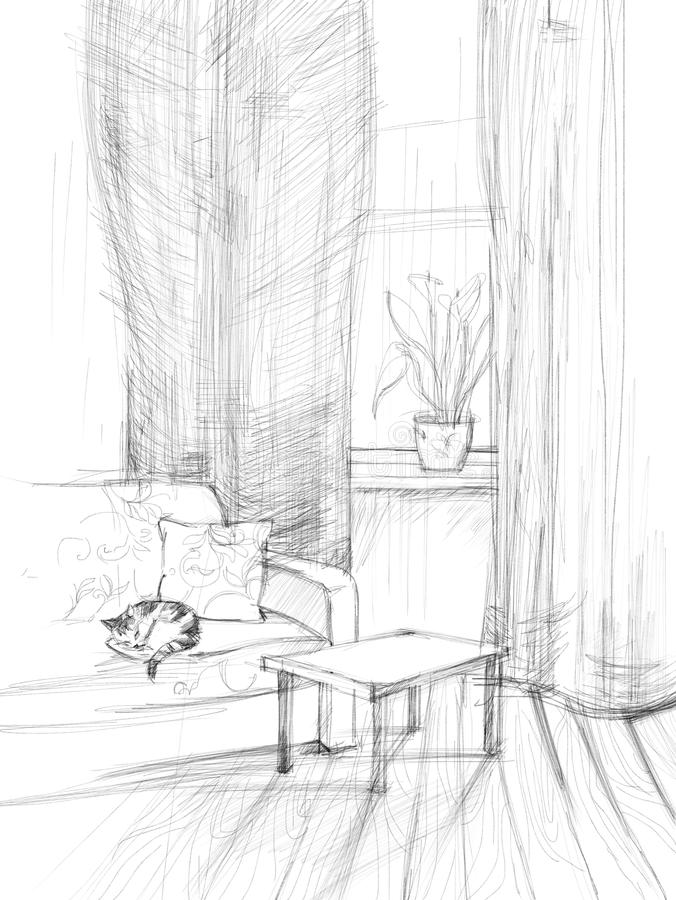 Sketch of the room stock images