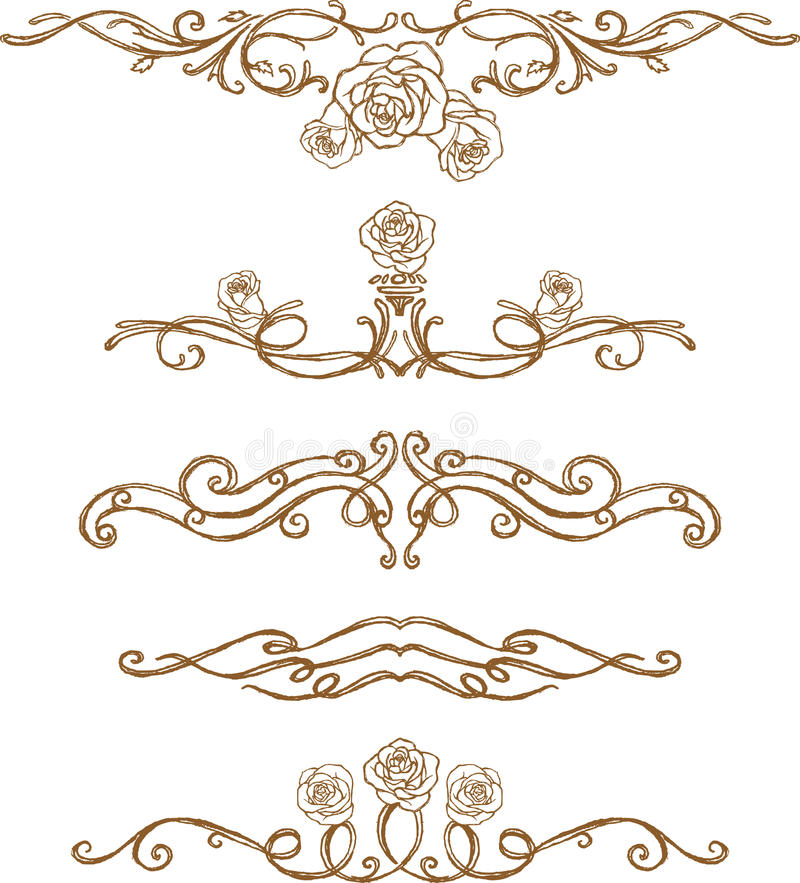 Sketch Rose Page Rule Royalty Free Stock Photography