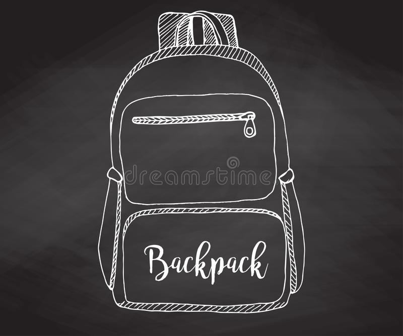 Sketch of a rucksack. Backpack isolated on the chalkboard. Vector illustration of a sketch style vector illustration