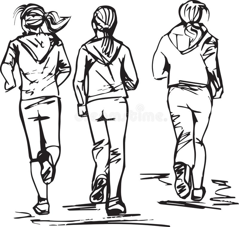 Sketch of Runners in group royalty free illustration