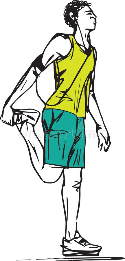 Sketch of Runners Stretching royalty free illustration