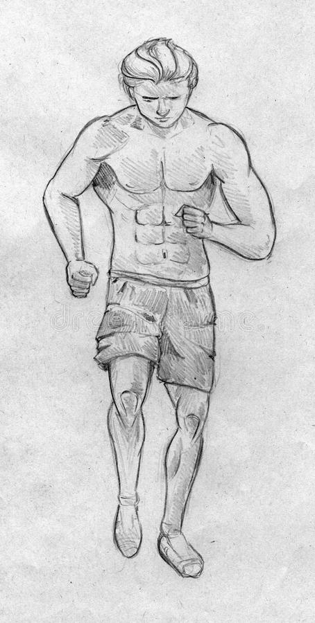 Sketch of a running man. Hand drawn pencil sketch of a running man wearing shorts vector illustration