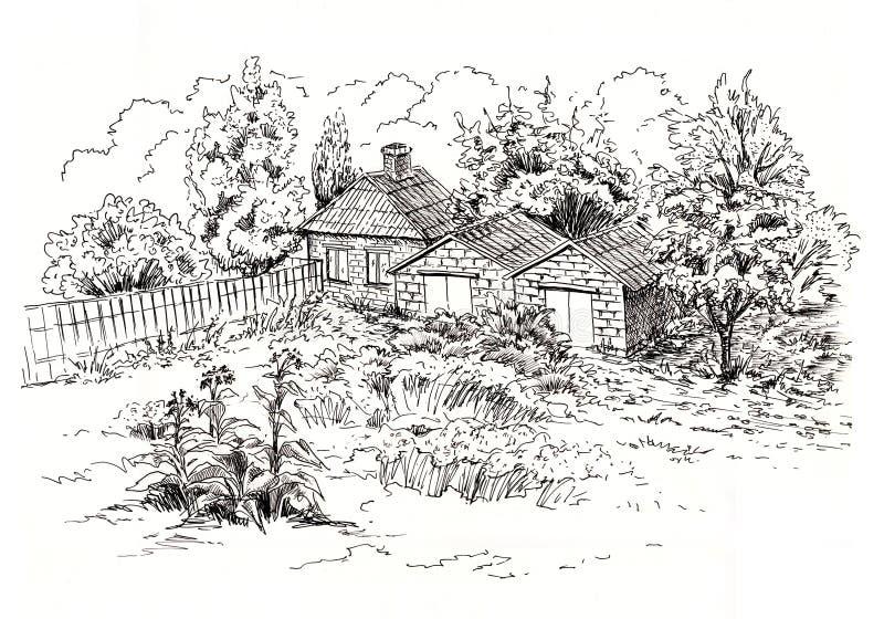 Sketch of rural landscape with old cottage, barn, garage and garden. Ink sketch stock illustration