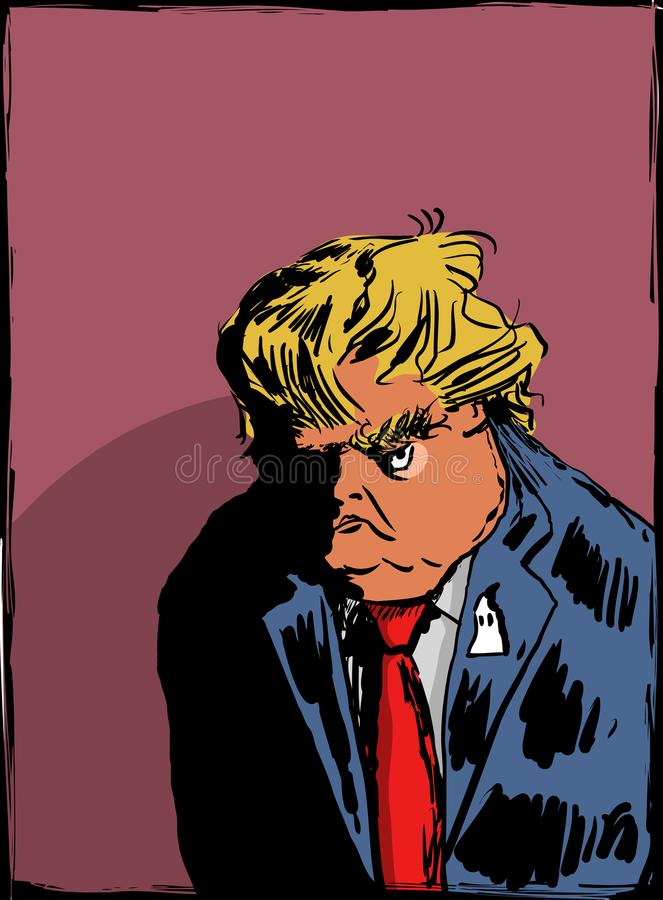 Sketch of scowling Donald Trump. September 13, 2017. Caricature sketch of scowling reality show tv star celebrity Donald J. Trump royalty free illustration