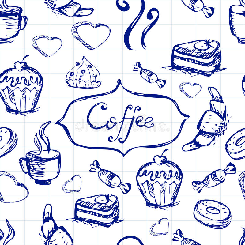 Sketch seamless pattern with coffee and sweets. Vector hand-drawn illustration. royalty free illustration