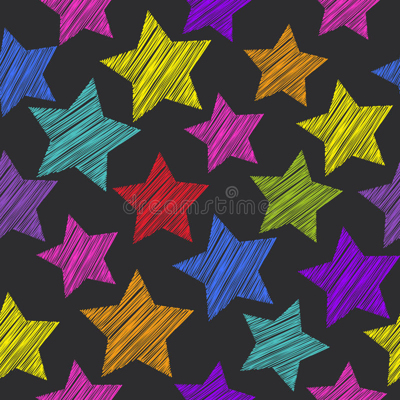 Sketch seamless pattern with stars. Red green orange pink lilac vector illustration