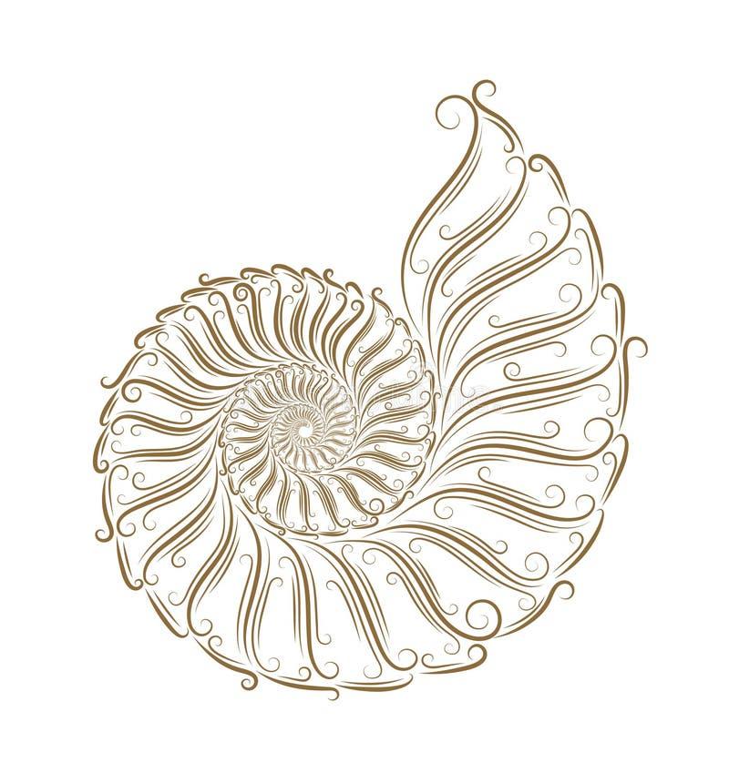 Sketch of seashells. Golden bruch vector illustration