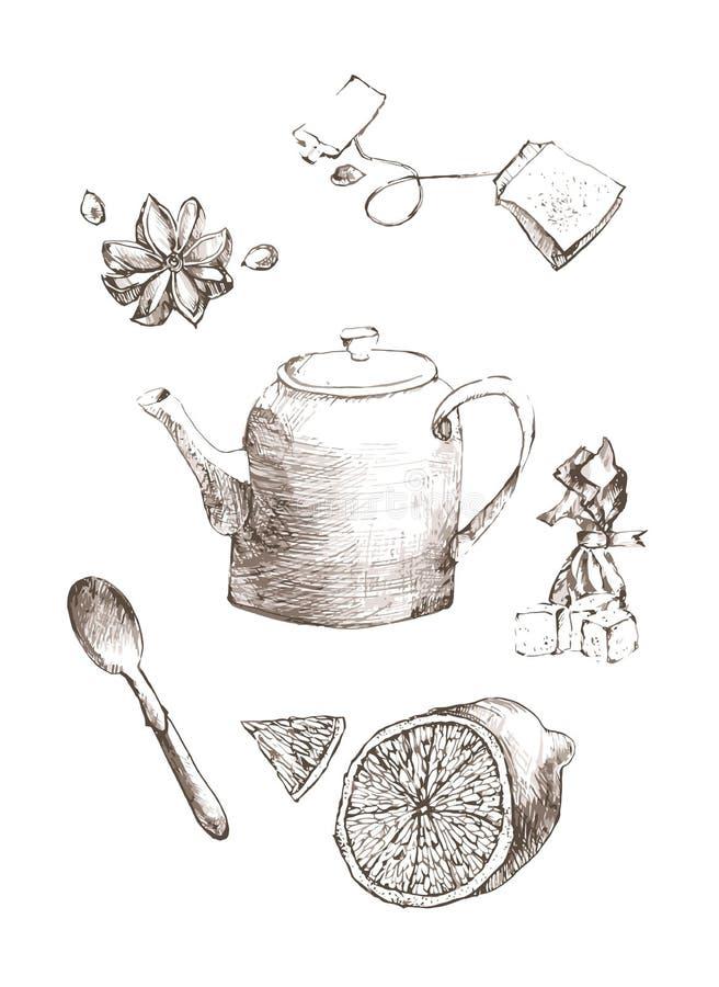 Free Sketch Set Lemon, Tea, Sugar, Candy And Star Anise.hand Drawn Illustration Of Tea Set. Sketch. Vector Illustration Royalty Free Stock Photos - 69312498