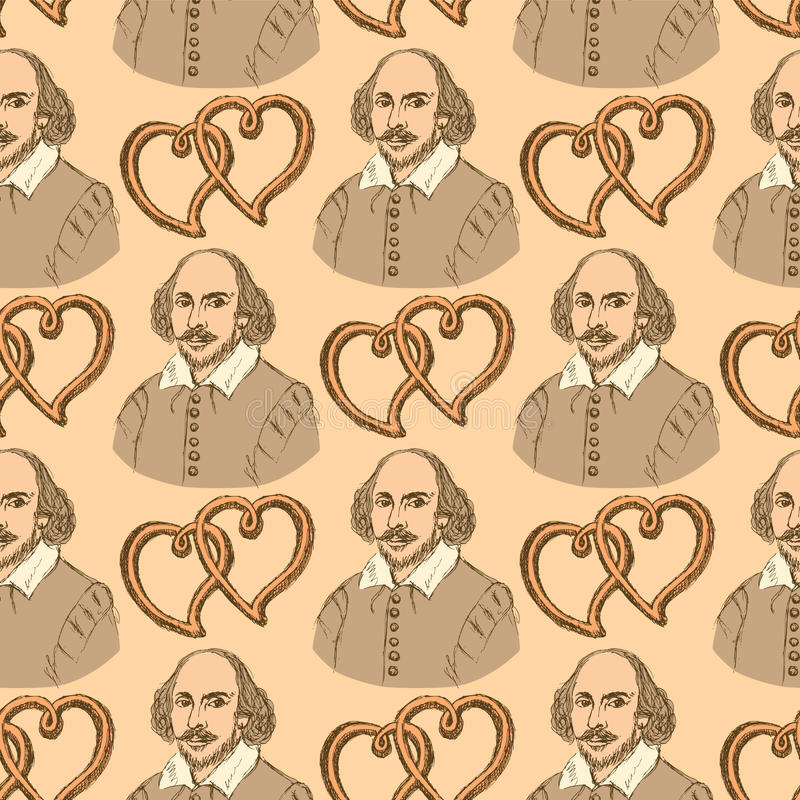 Sketch Shakespeare and hearts in vintage style royalty free illustration