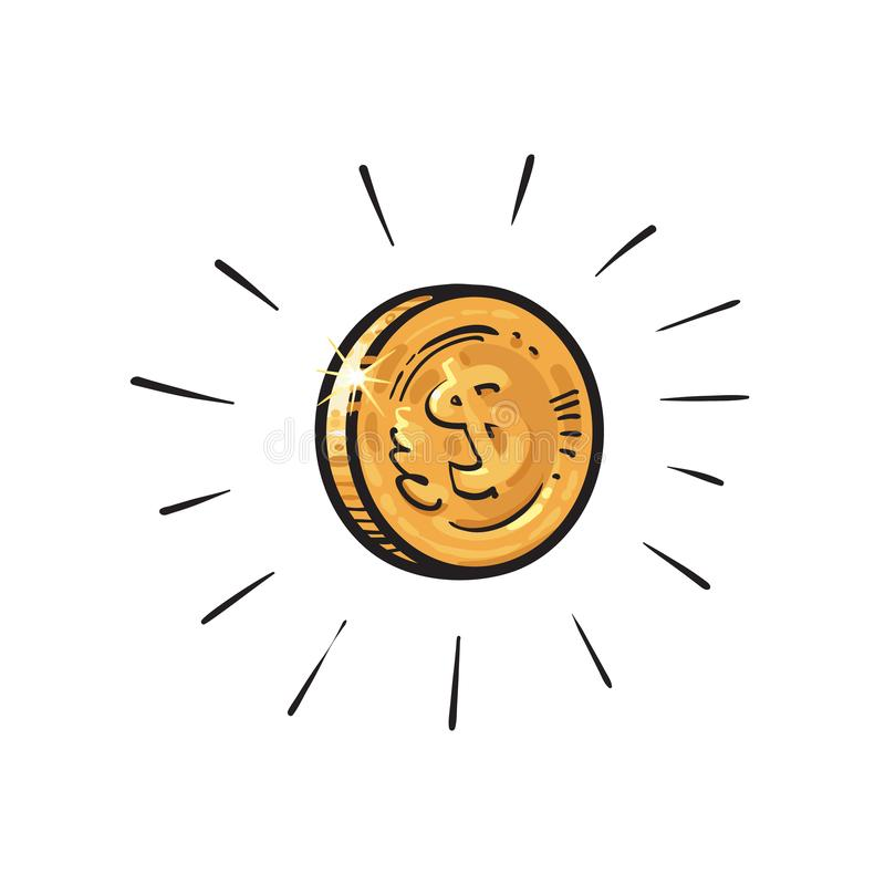Sketch of shining gold coin with dollar sign encircled by burst of light rays. Hand drawn cartoon vector illustration on royalty free illustration