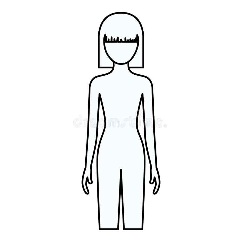 Sketch silhouette of faceless front view woman naked body with straight short hairstyle. Vector illustration stock illustration