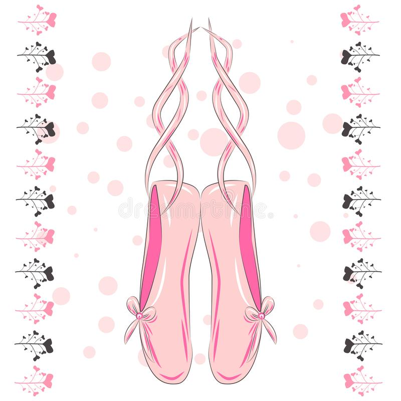 Sketch silhouette hand drawn pointes shoes, bow in pink colors. T shirt design. Sketch silhouette hand drawn pointes shoes, bow in pink colors vector illustration