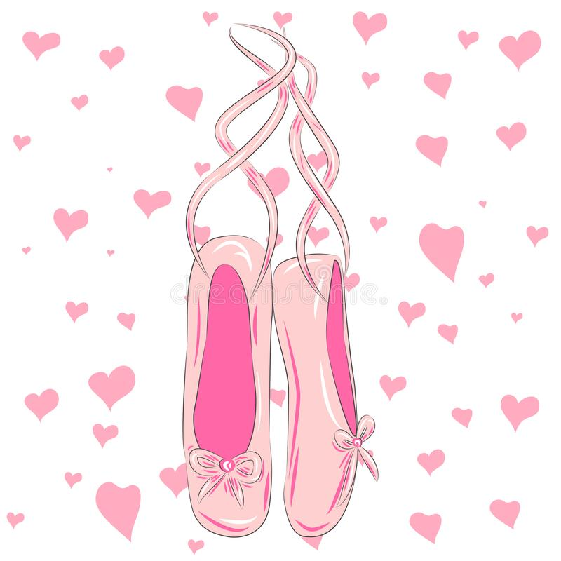 Sketch silhouette hand drawn pointes shoes, bow in pink colors. T shirt design. Sketch silhouette hand drawn pointes shoes, bow in pink colors stock illustration