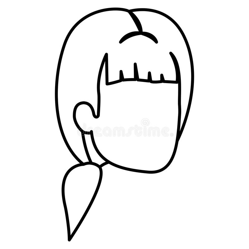 Sketch silhouette of man faceless with ponytail and bangs royalty free illustration