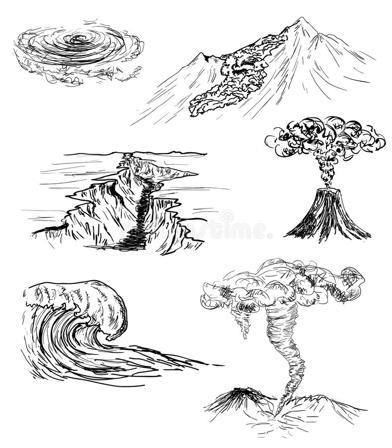 Sketch of six natural disasters