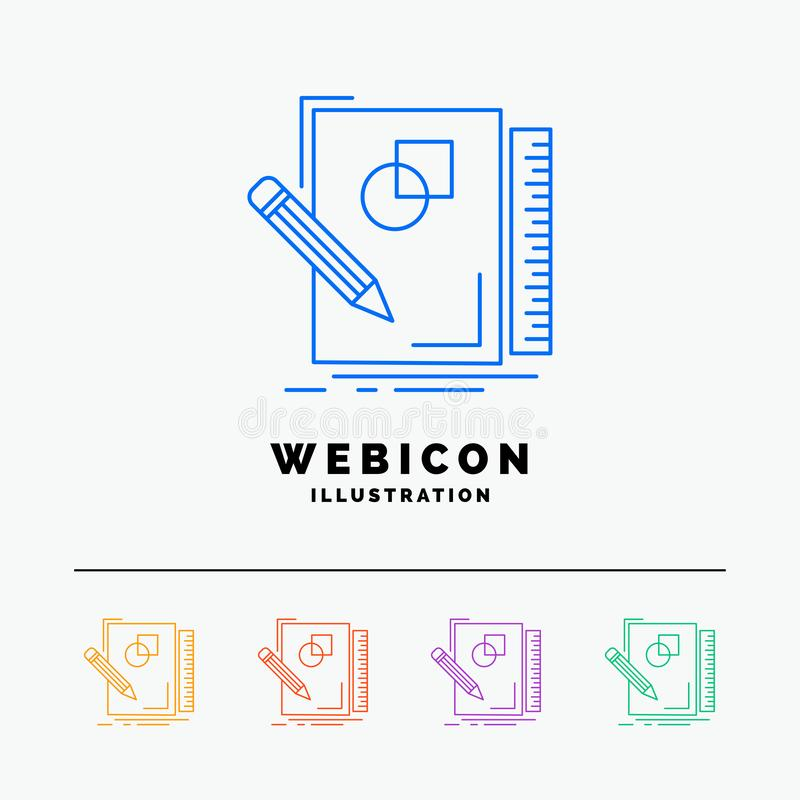 Sketch, sketching, design, draw, geometry 5 Color Line Web Icon Template isolated on white. Vector illustration. Vector EPS10 Abstract Template background royalty free illustration