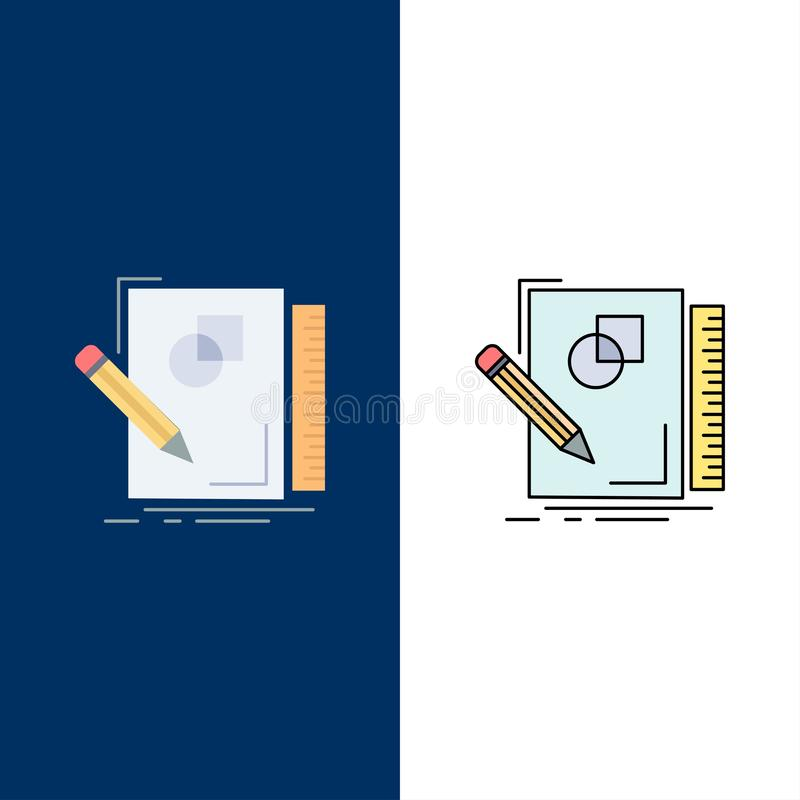 Sketch, sketching, design, draw, geometry Flat Color Icon Vector royalty free illustration