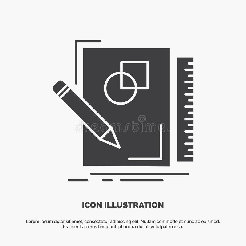 Sketch, sketching, design, draw, geometry Icon. glyph vector gray symbol for UI and UX, website or mobile application. Vector EPS10 Abstract Template stock illustration