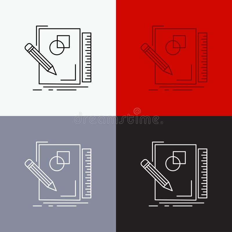 Sketch, sketching, design, draw, geometry Icon Over Various Background. Line style design, designed for web and app. Eps 10 vector. Illustration. Vector EPS10 vector illustration