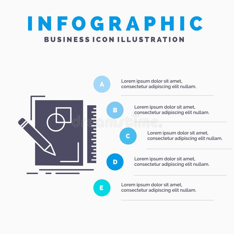 Sketch, sketching, design, draw, geometry Infographics Template for Website and Presentation. GLyph Gray icon with Blue. Infographic style vector illustration stock illustration
