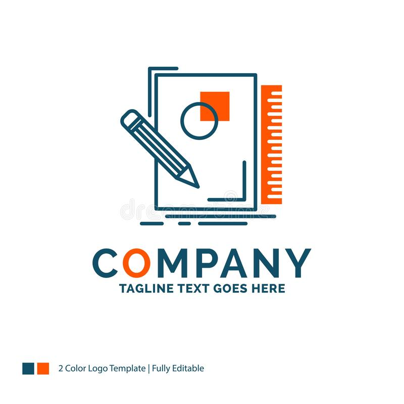 Sketch, sketching, design, draw, geometry Logo Design. Blue and. Orange Brand Name Design. Place for Tagline. Business Logo template vector illustration