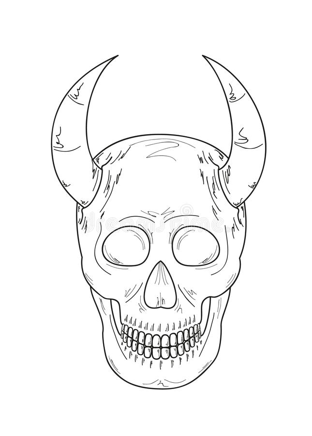 Sketch of the skull with horns stock illustration