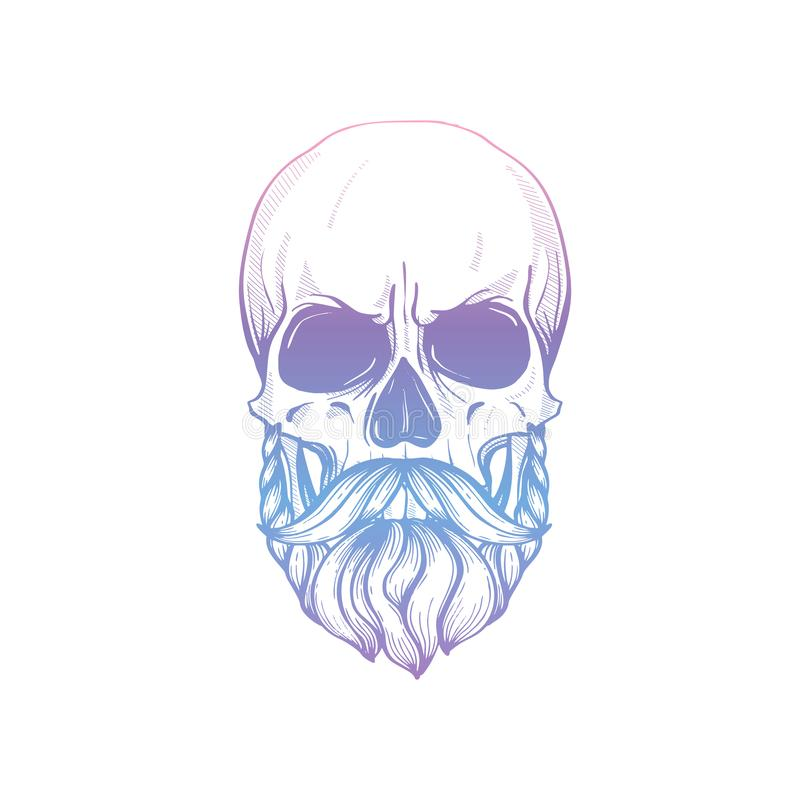 Sketch Skull with moustaches and beard stock image