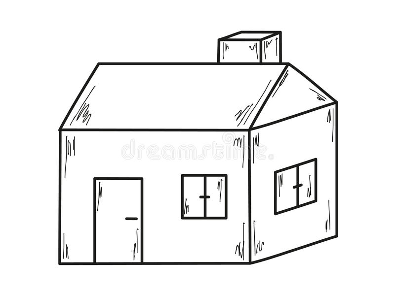 Sketch Of The Small House Stock Vector Illustration Of