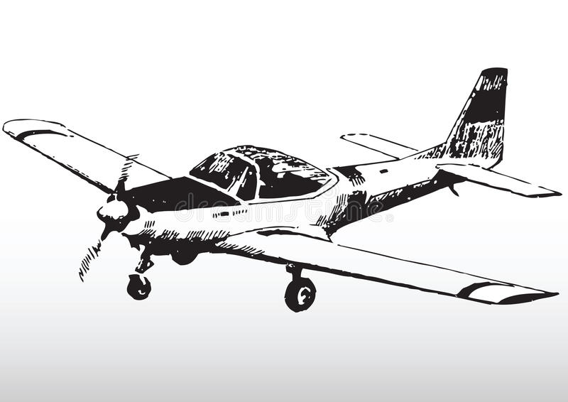 Download Sketch Of Small Private Plane Royalty Free Stock Images - Image: 9396649