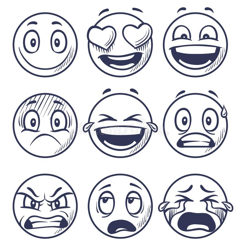 Sketch smiles. Doodle smiley in different emotions. Hand drawn smiling faces, emoticons vector set vector illustration