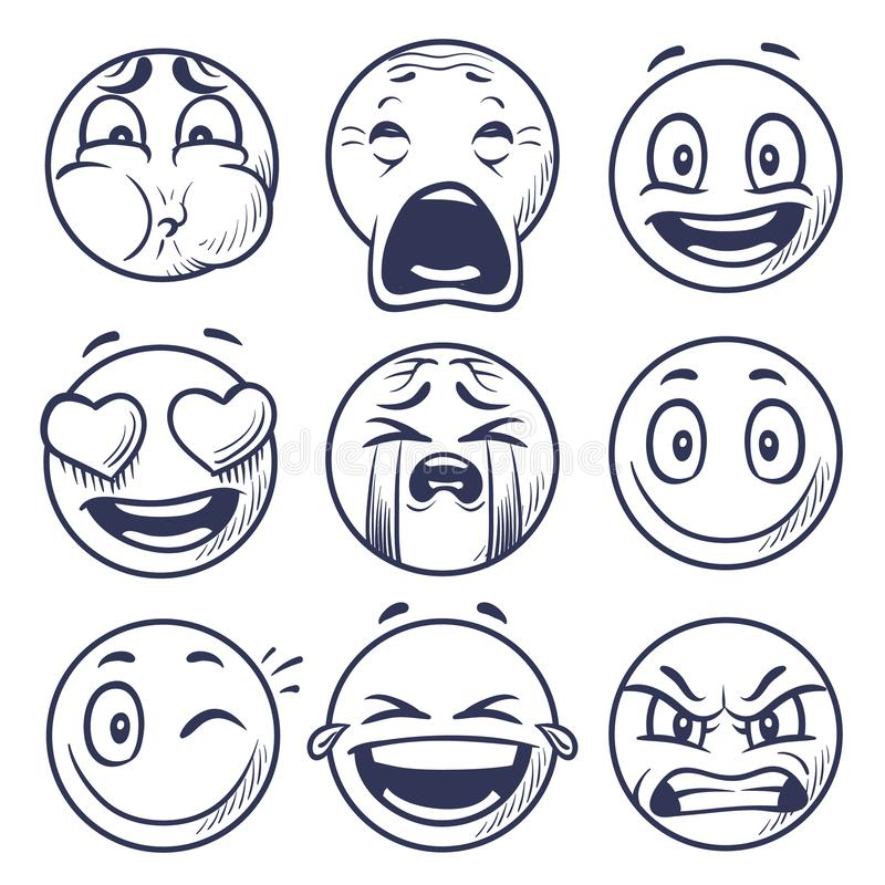 Sketch smiley. Smile expression icons, emoticons faces. Hand draw vector mood characters. Sketch face smiley mood, smile character emoticon illustration royalty free illustration