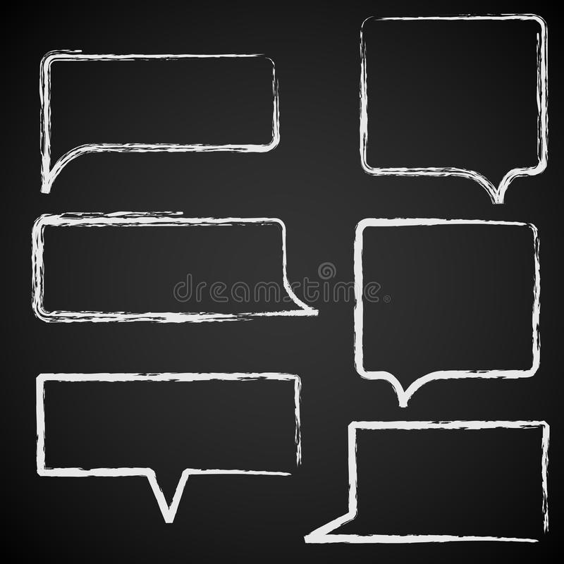 Sketch of speech bubbles chalked royalty free illustration
