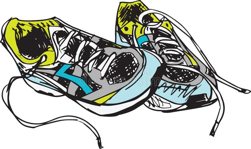 Sketch of sport shoes royalty free illustration