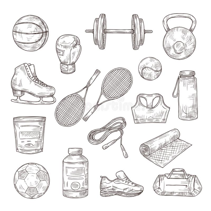 Sketch sports equipment. Ball, dumbbell and tennis rackets, boxing glove and jump rope, sports nutrition. Doodle fitness vector illustration